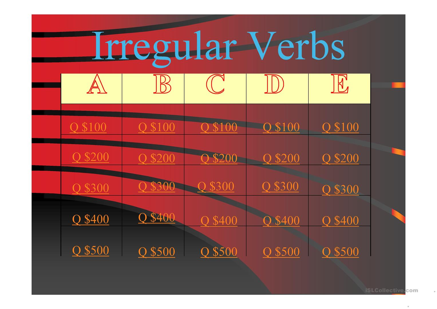 Irregular Verbs Jeopardy Worksheet