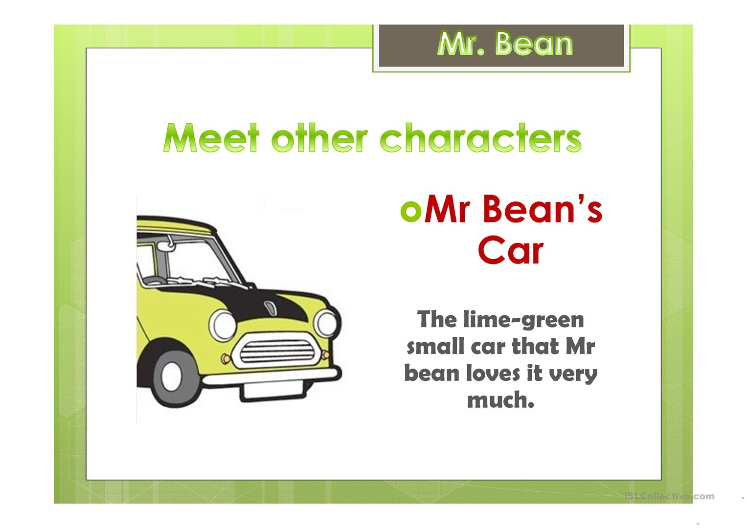 Mr Bean Worksheet