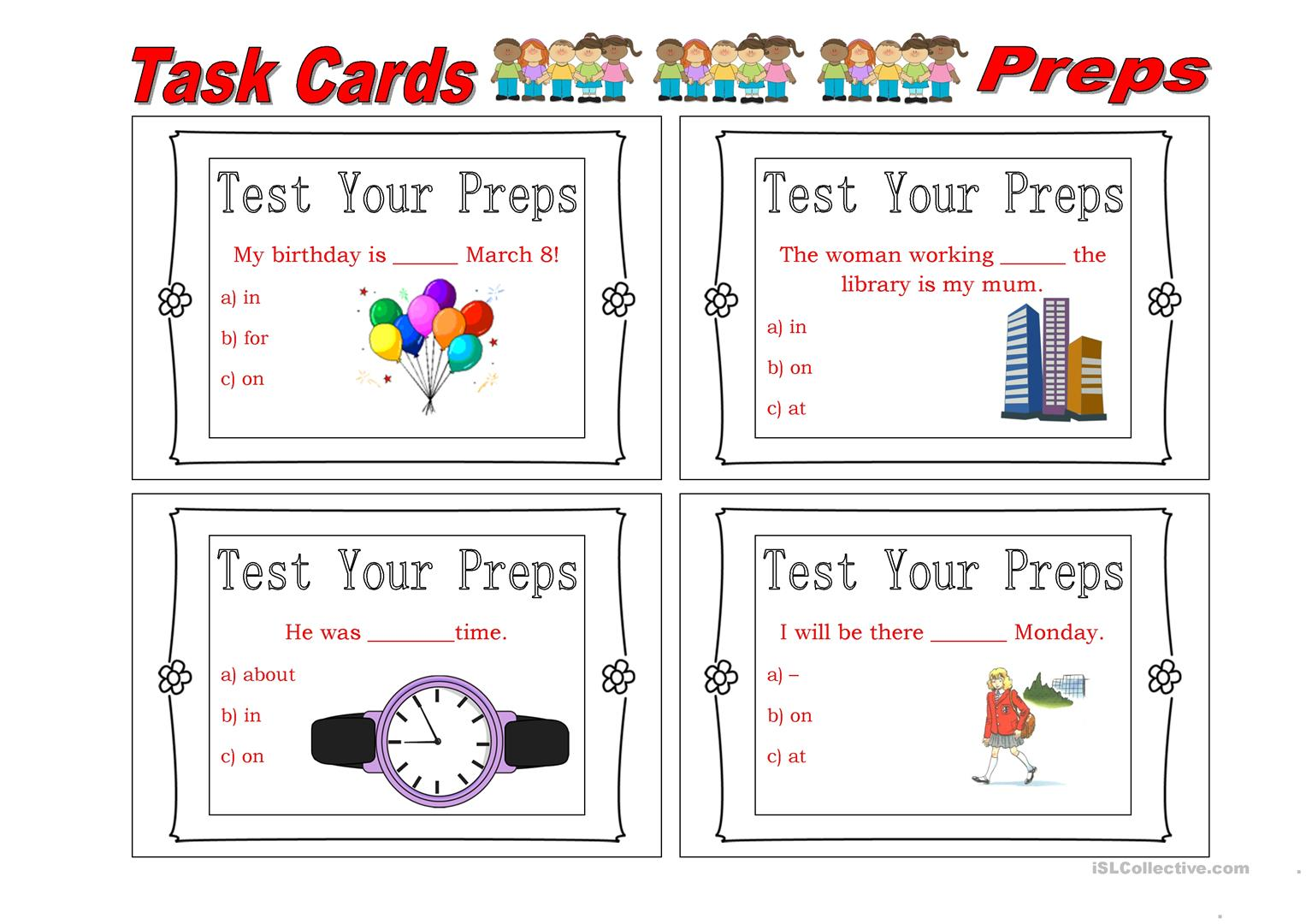 Task Card Preposition 5 Worksheet