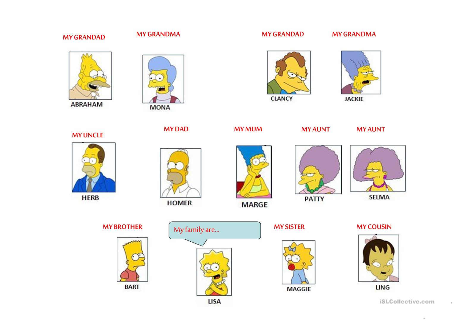 The Simpsons Family Vocabulary