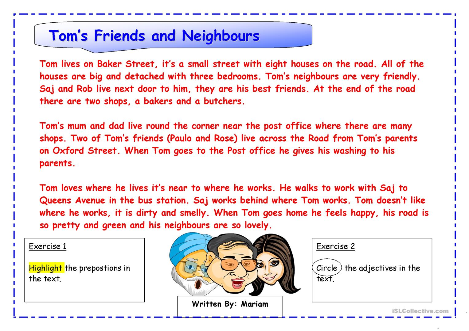 Tom S Friends And Neighbours Worksheet