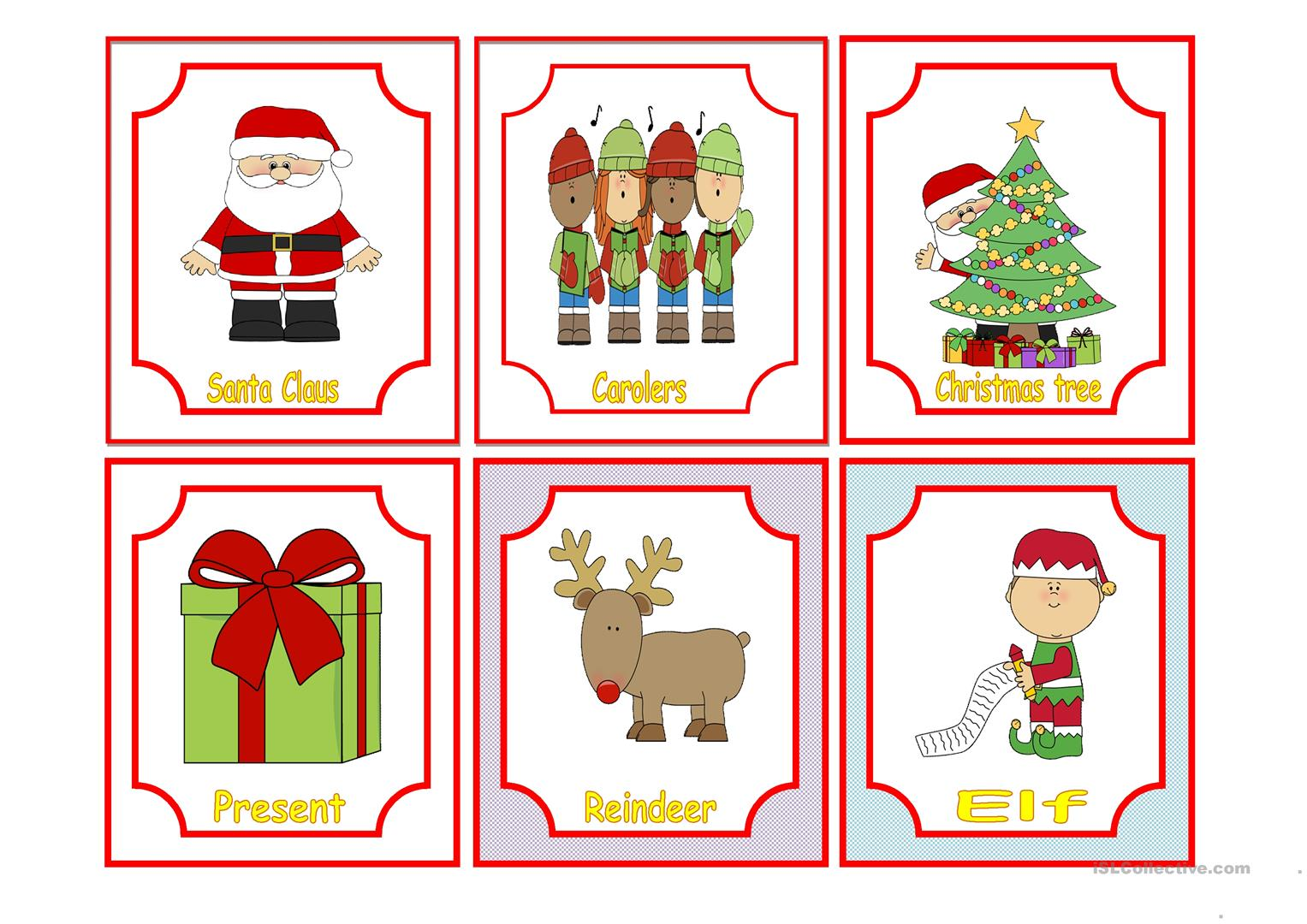 Christmas Flashcards Home Or Classroom