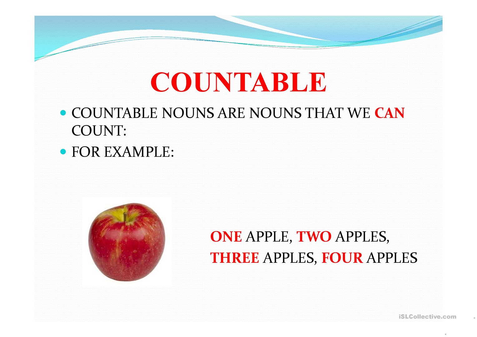Worksheet Countable Nouns