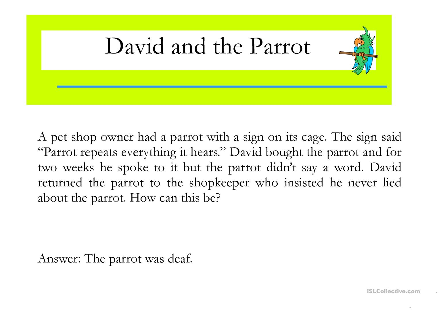 David And The Parrot