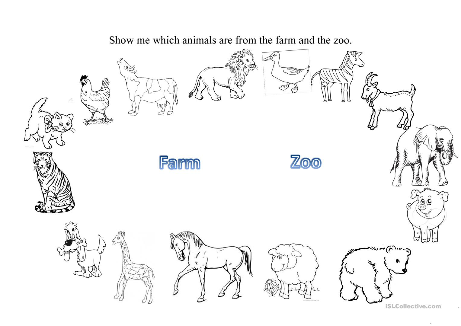 Printables Of Worksheet About Zoo Animals