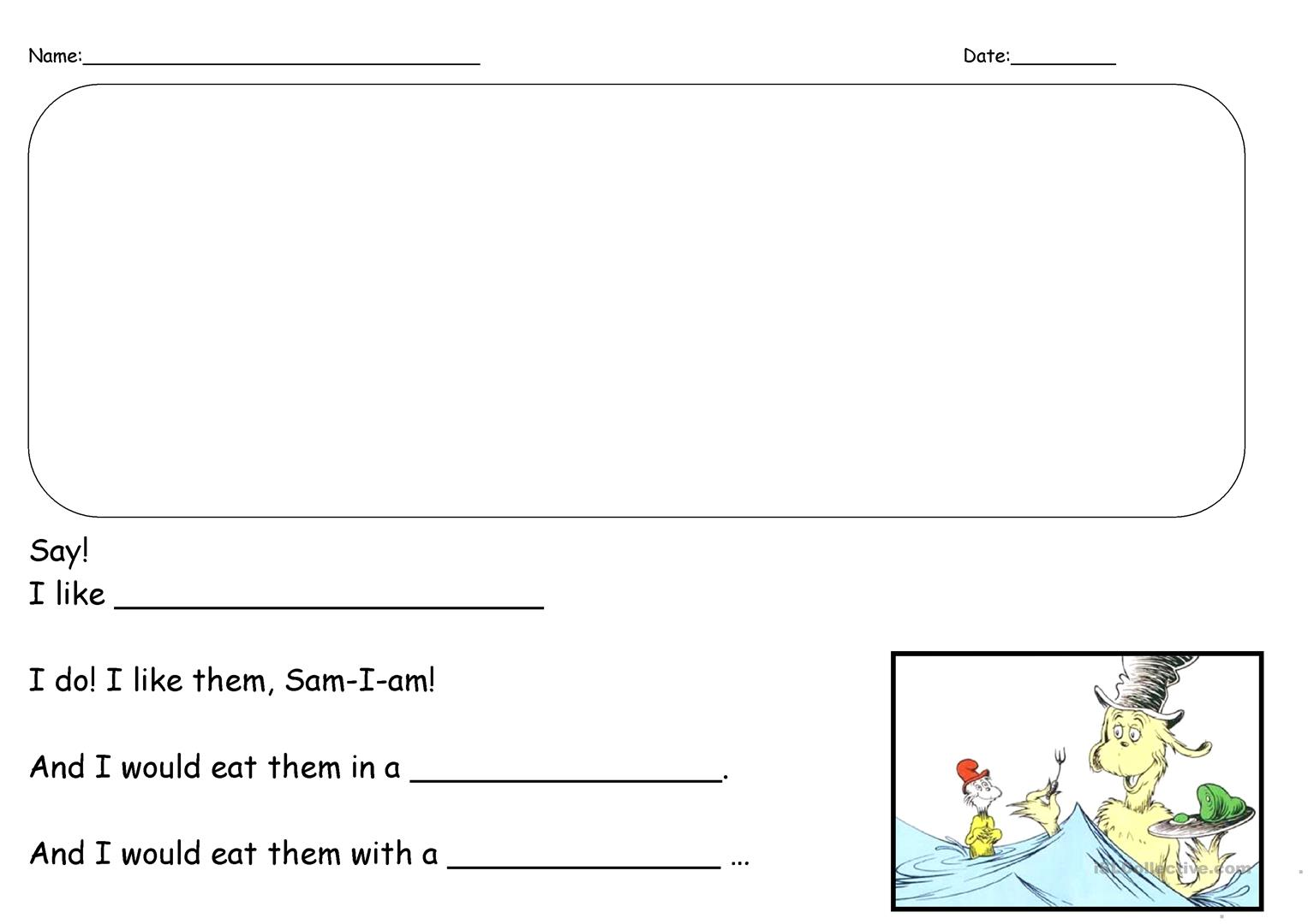 Green Eggs And Ham Writing Prompt Worksheet