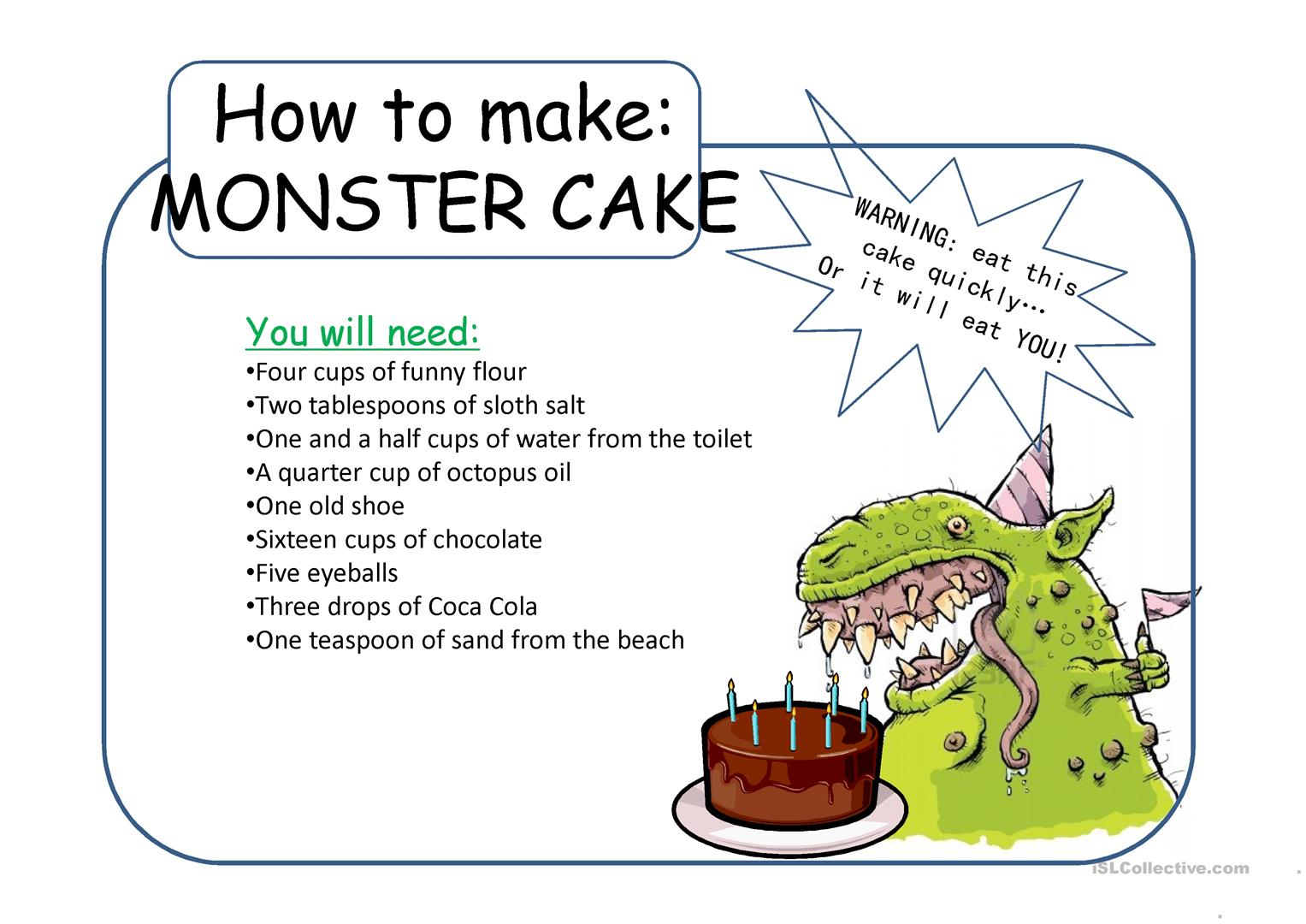 Monster Cake Worksheet