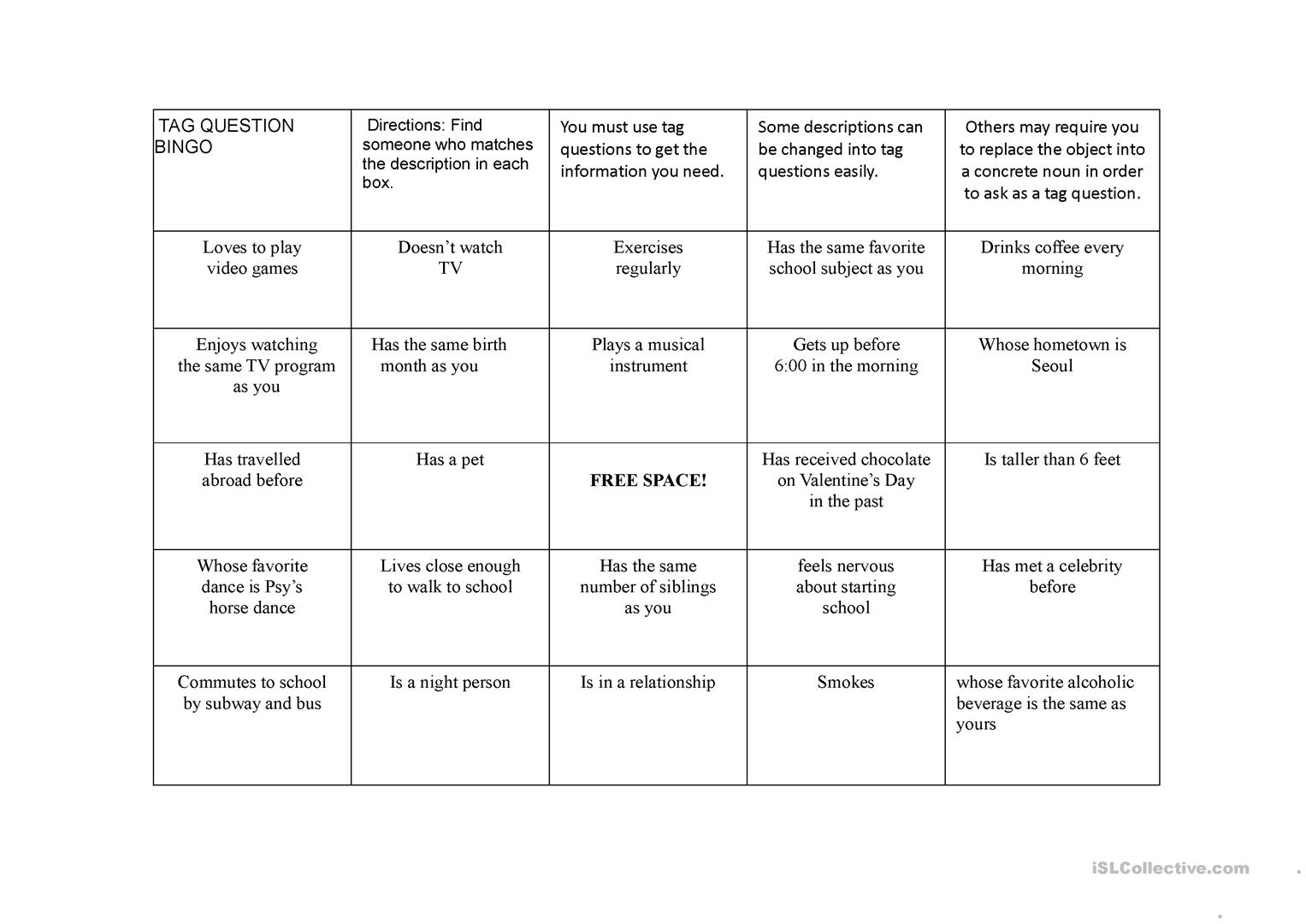 People Bingo Using Tag Questions Worksheet