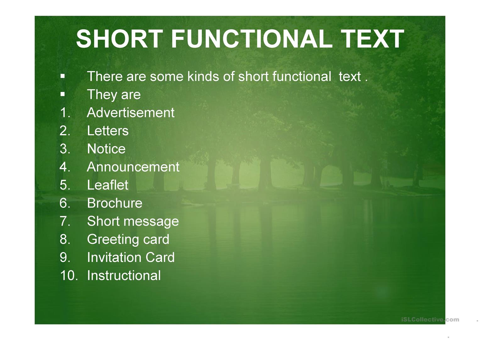 Short Functional Text Worksheet
