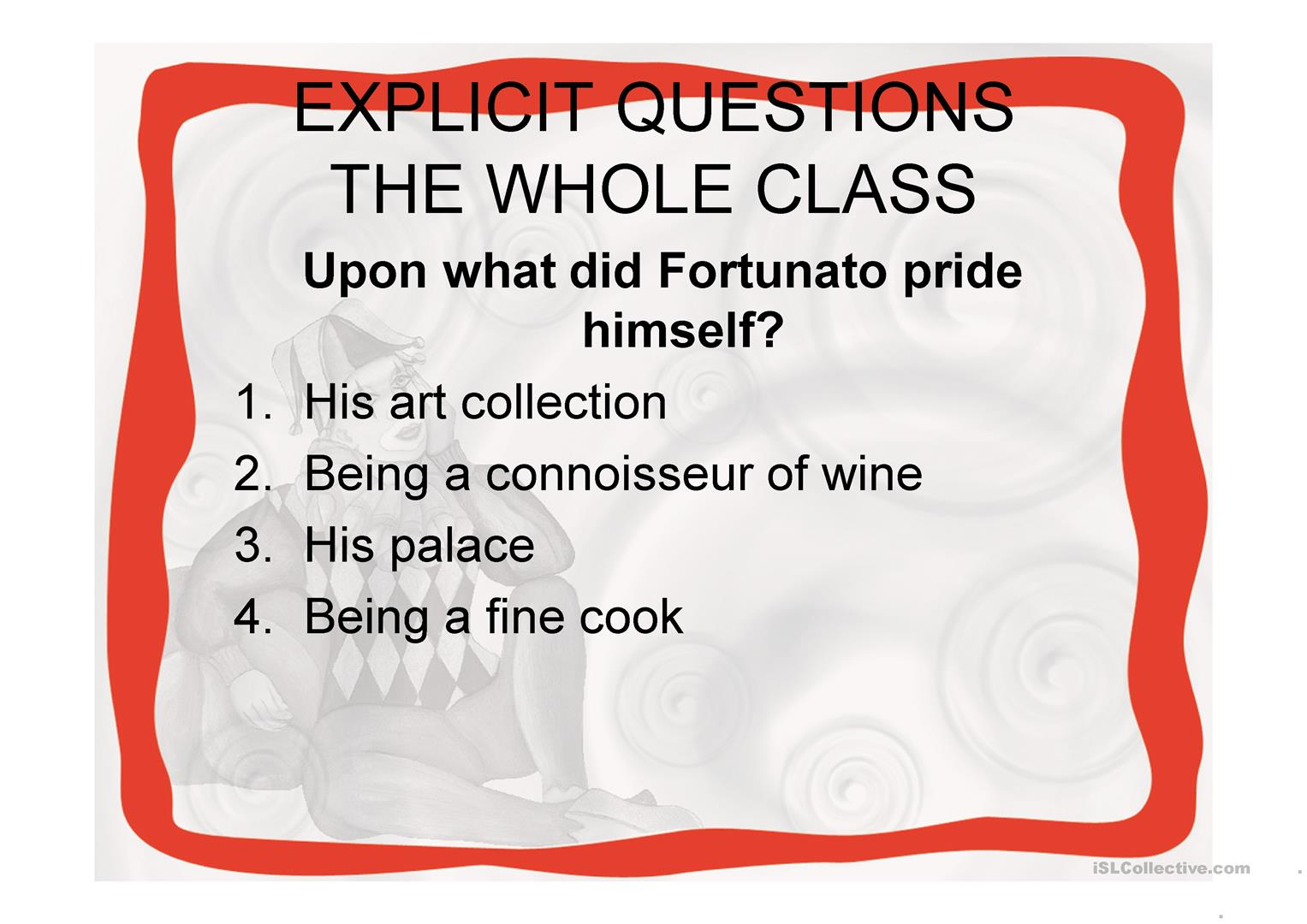 The Cask Of Amontillado By E A Poe Worksheet