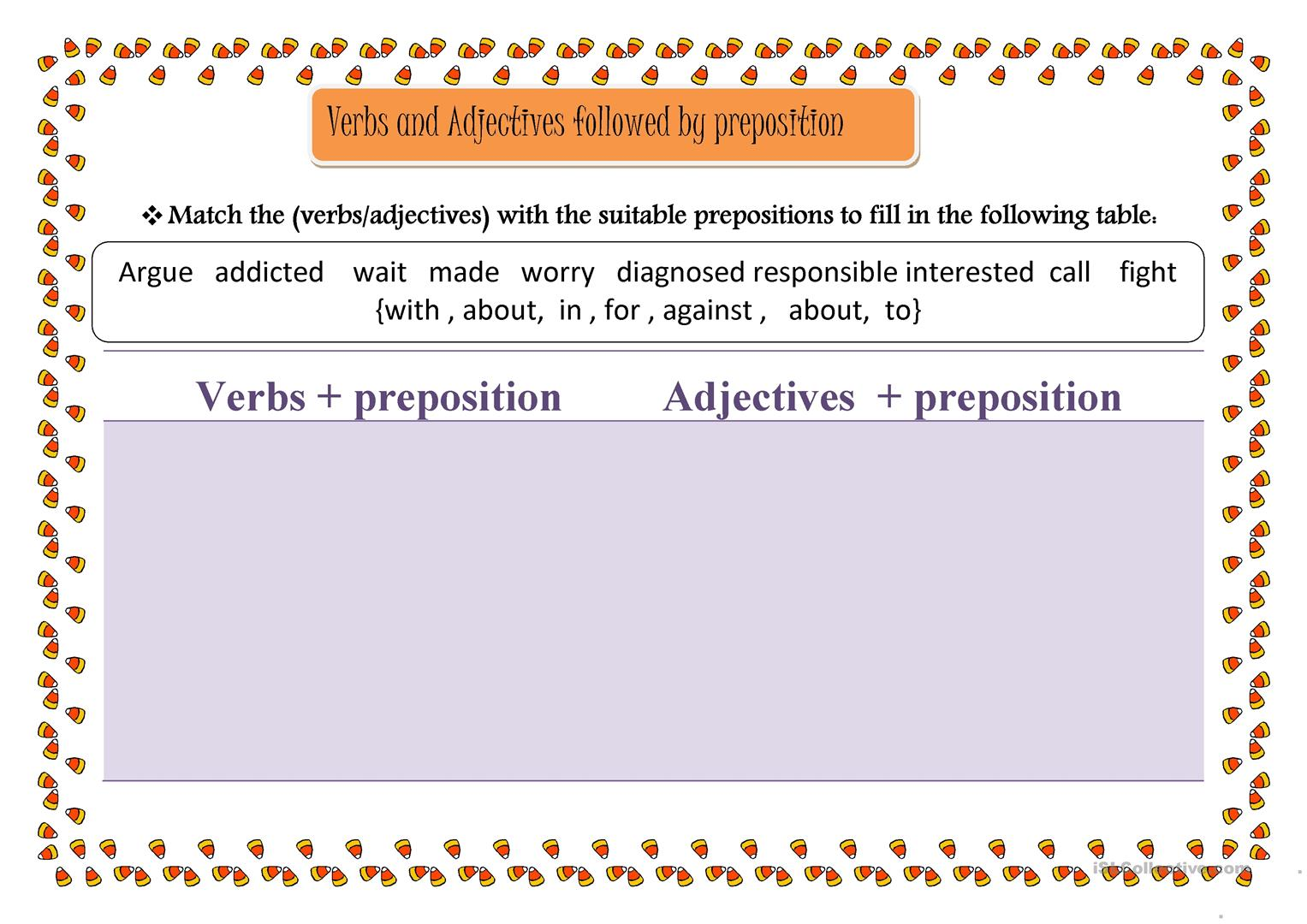 Verbs And Adjectives Followed By Preposition Worksheet