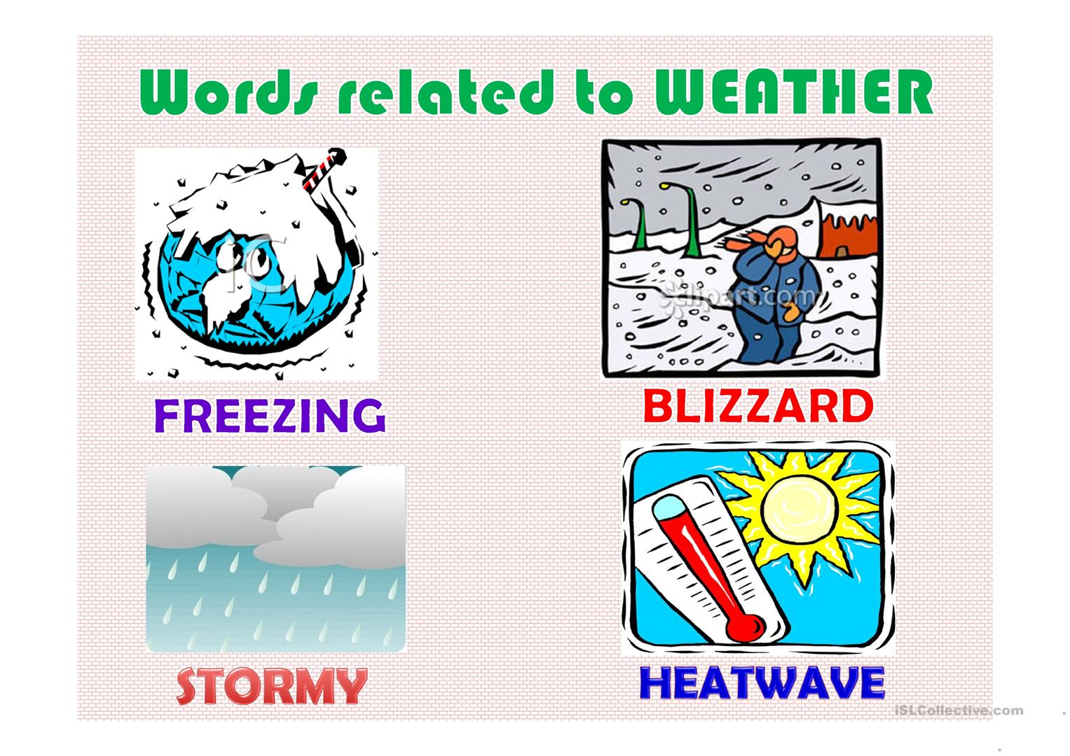 Words Related To Weather Worksheet