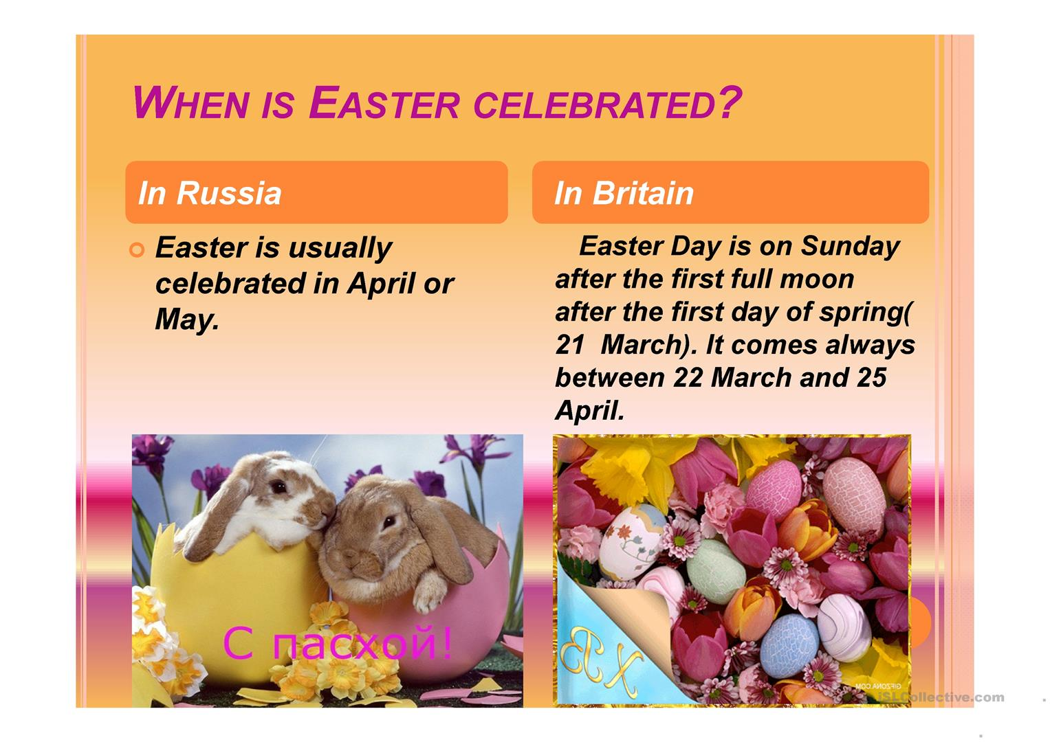 Easter In Britain And Russia Worksheet