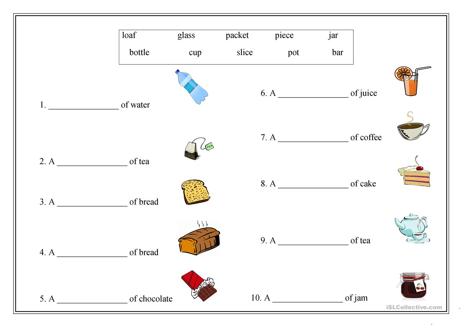 Food Partitives Worksheet