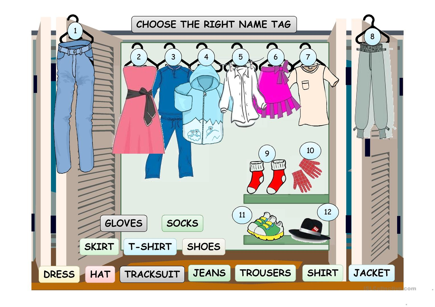 Hang The Clothes In The Wardrobe Game Worksheet