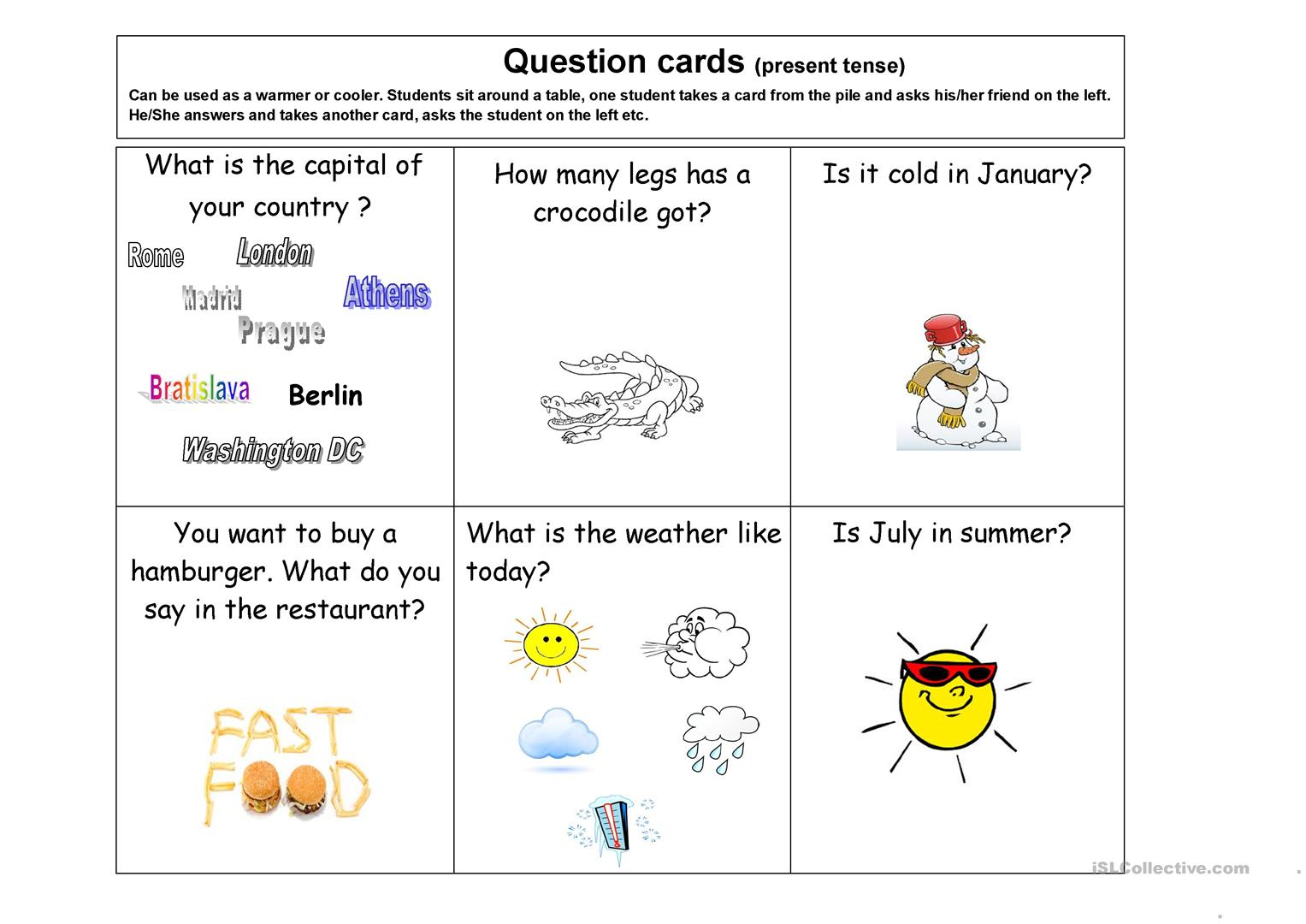 Question Cards 10 Pages