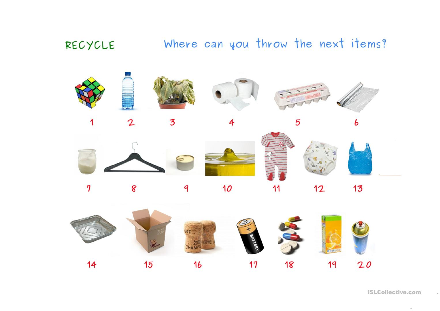 Reduce Reuse Recycle Worksheet For 1st Grade