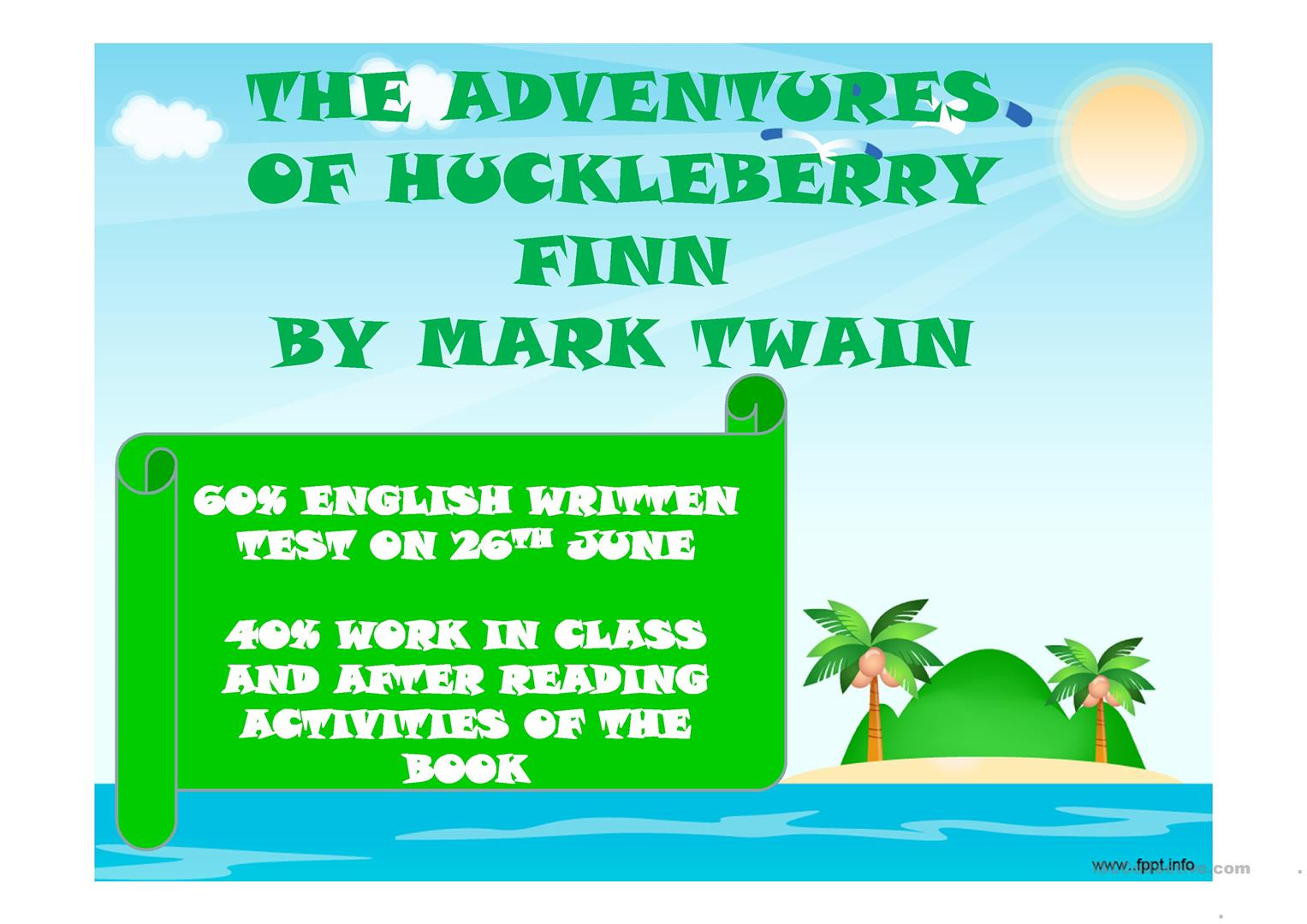 After Reading Activity The Adventures Of Huckleberry Finn