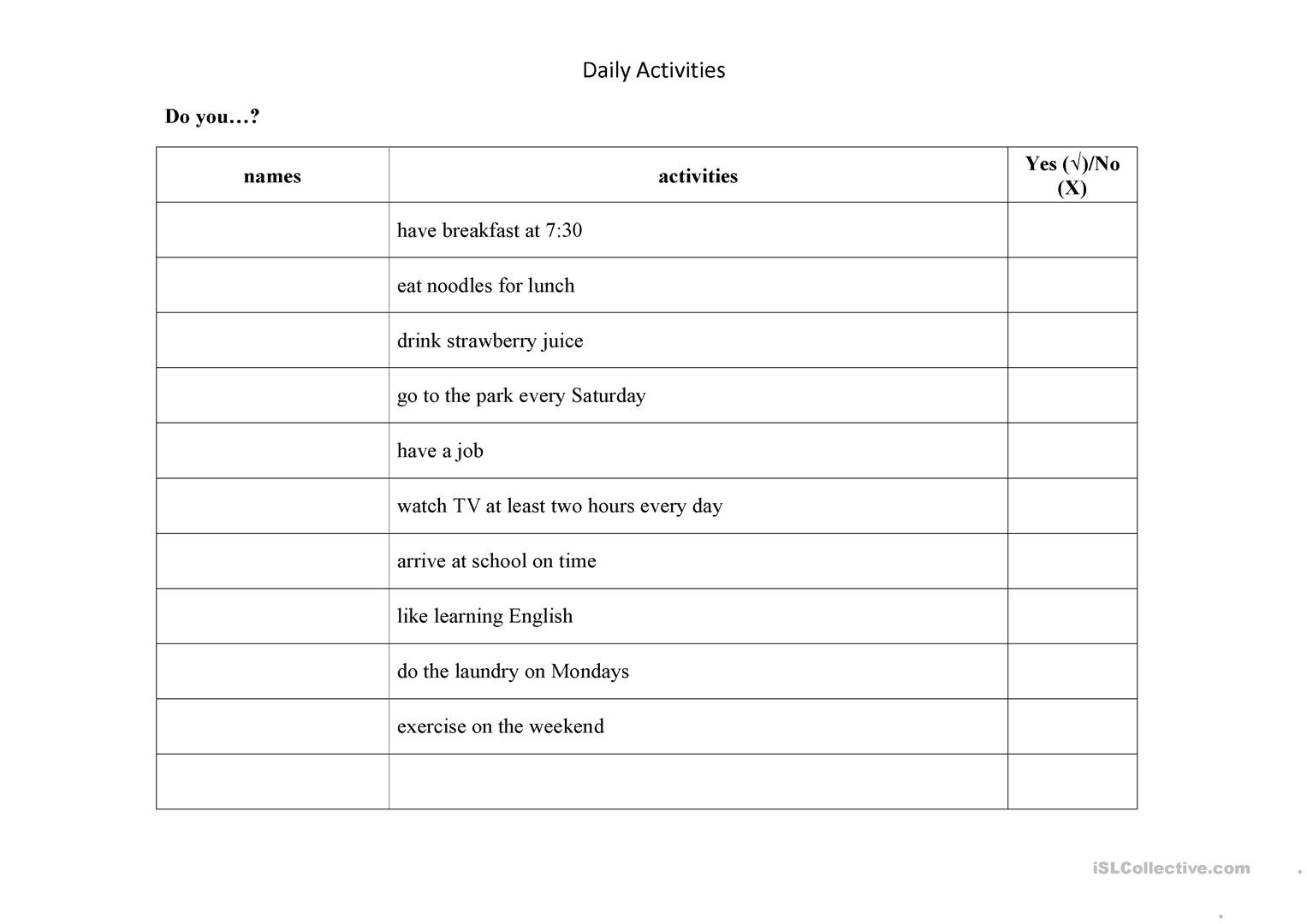 Daily Activities Quesionnaire