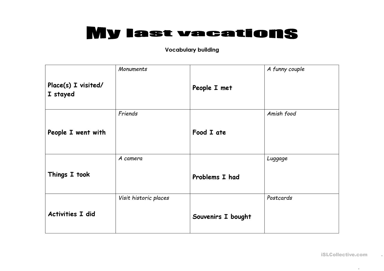 Last Vacations Worksheet