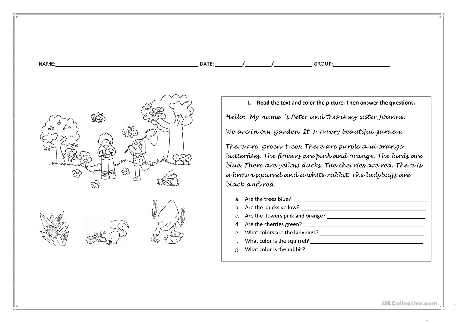 Read And Answer Worksheet