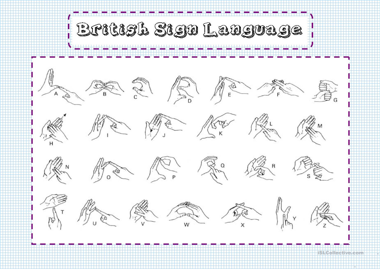 Bristish Sign Language Worksheet