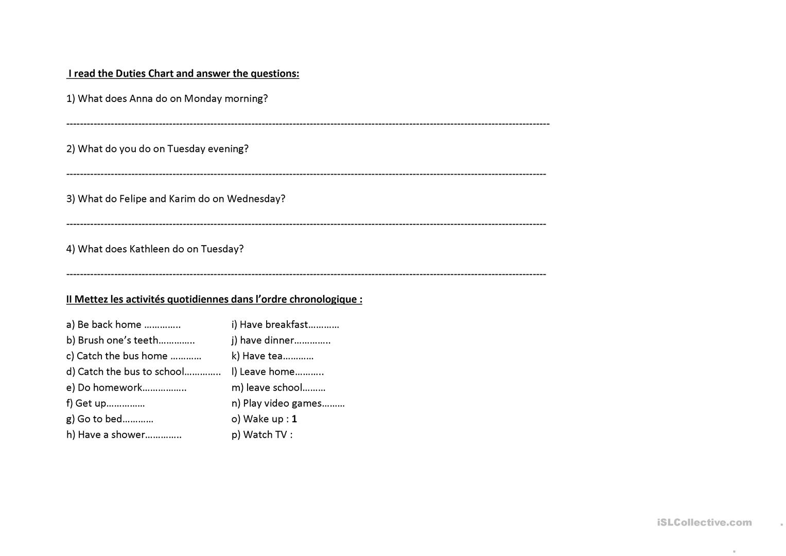 Flatsharing Duties Worksheet