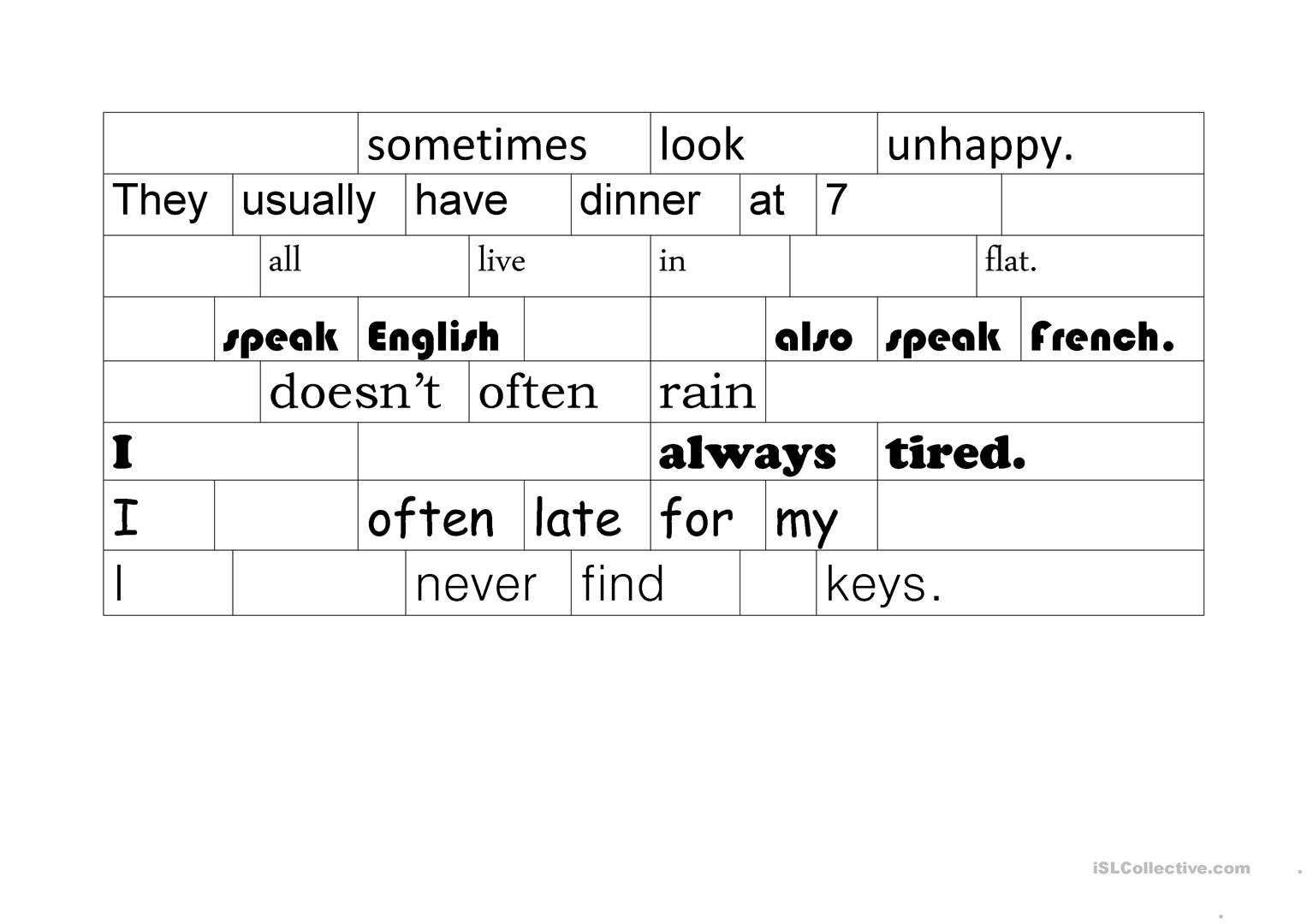 Word Order In Sentences Worksheet
