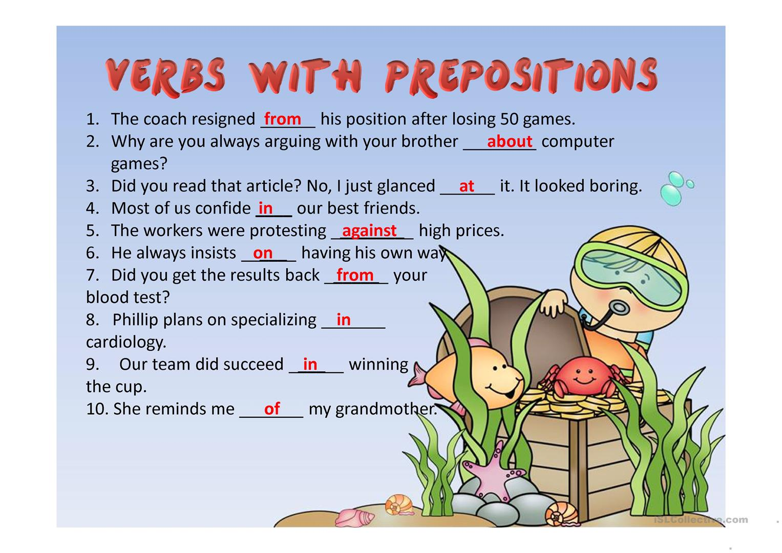 Advanced Level Prepositions With Verbs Ppt Worksheet