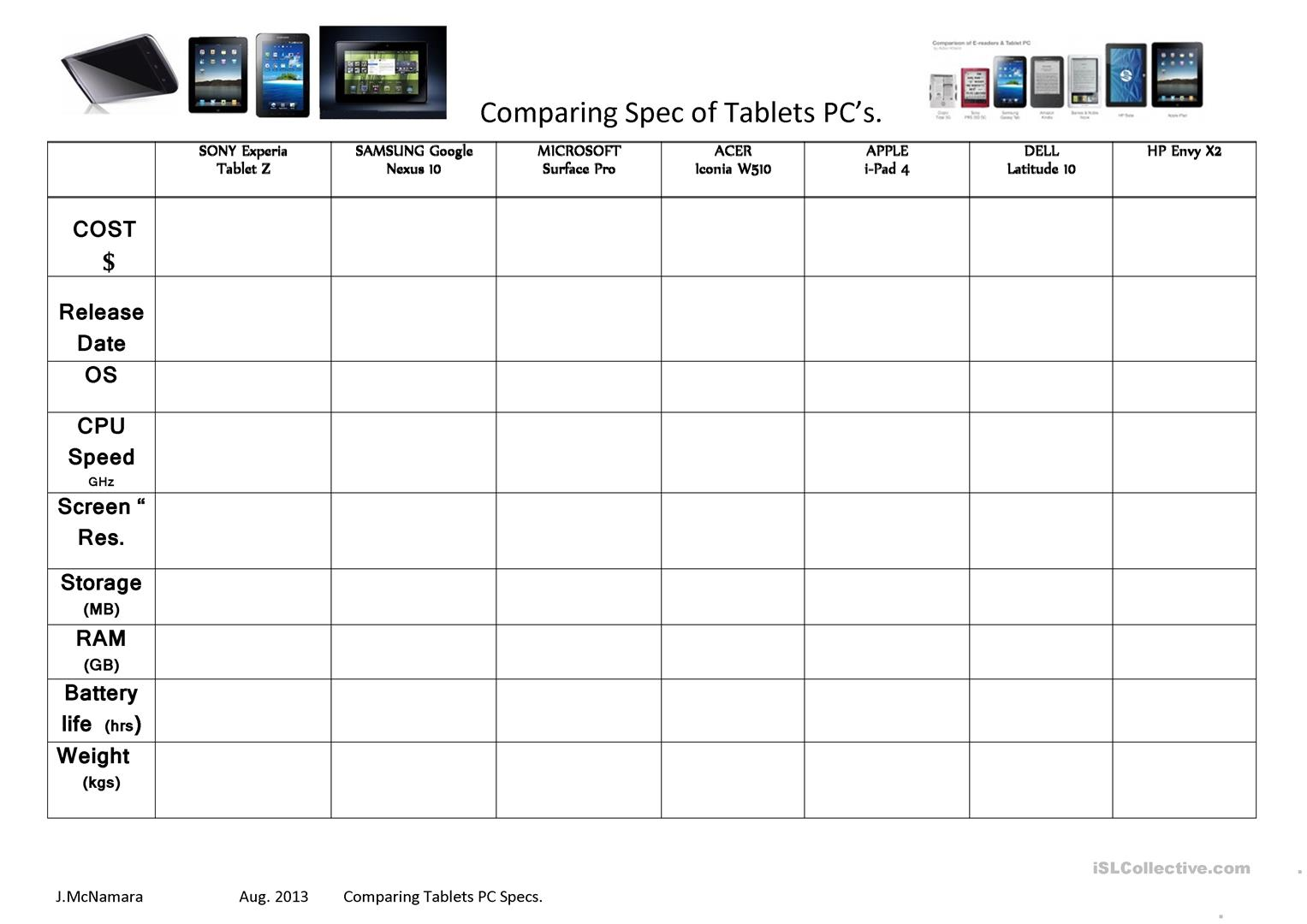 Making Comparisons Tablet Pc Specs Worksheet