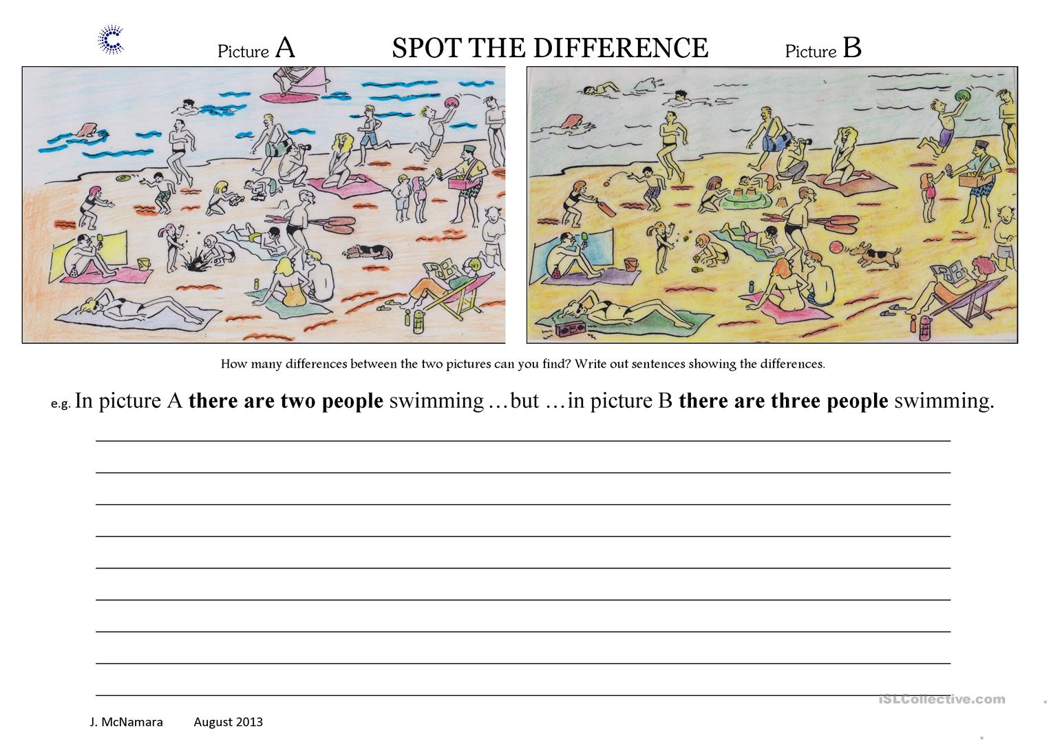 Spot The Difference At The Beach Worksheet