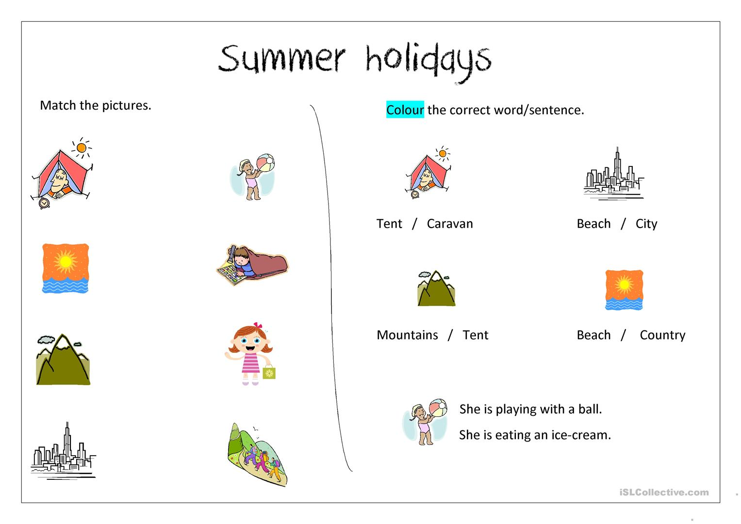 Summer Holiday Worksheets Worksheet