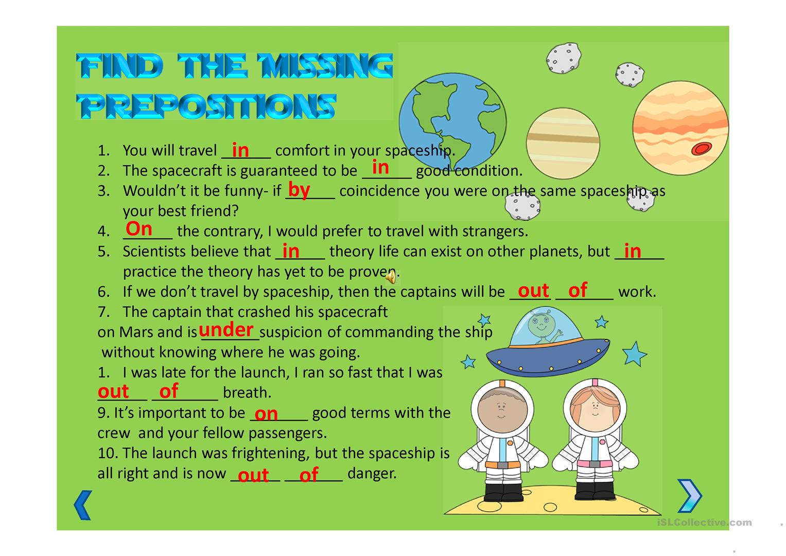 Advanced Level Prepositions With Nouns Ppt Worksheet