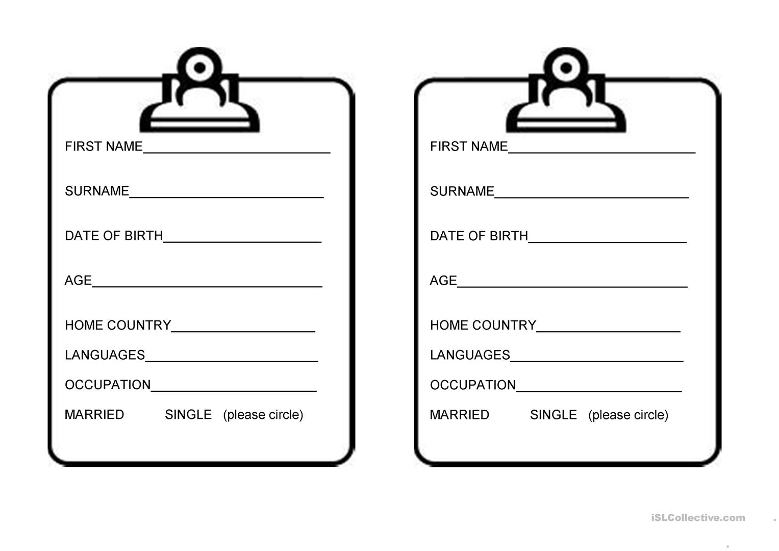 Personal Details Worksheet