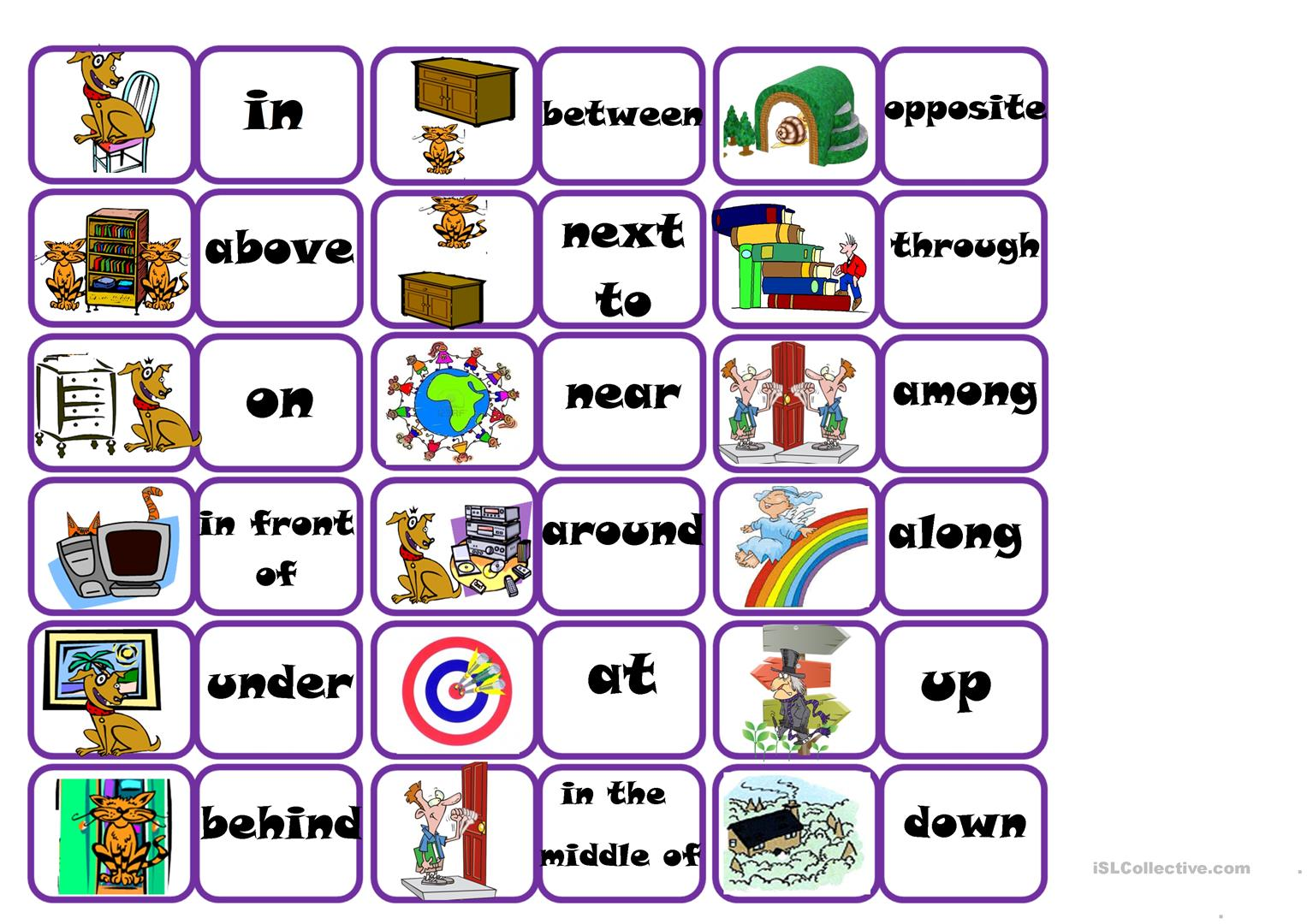Prepositions Bingo Worksheet