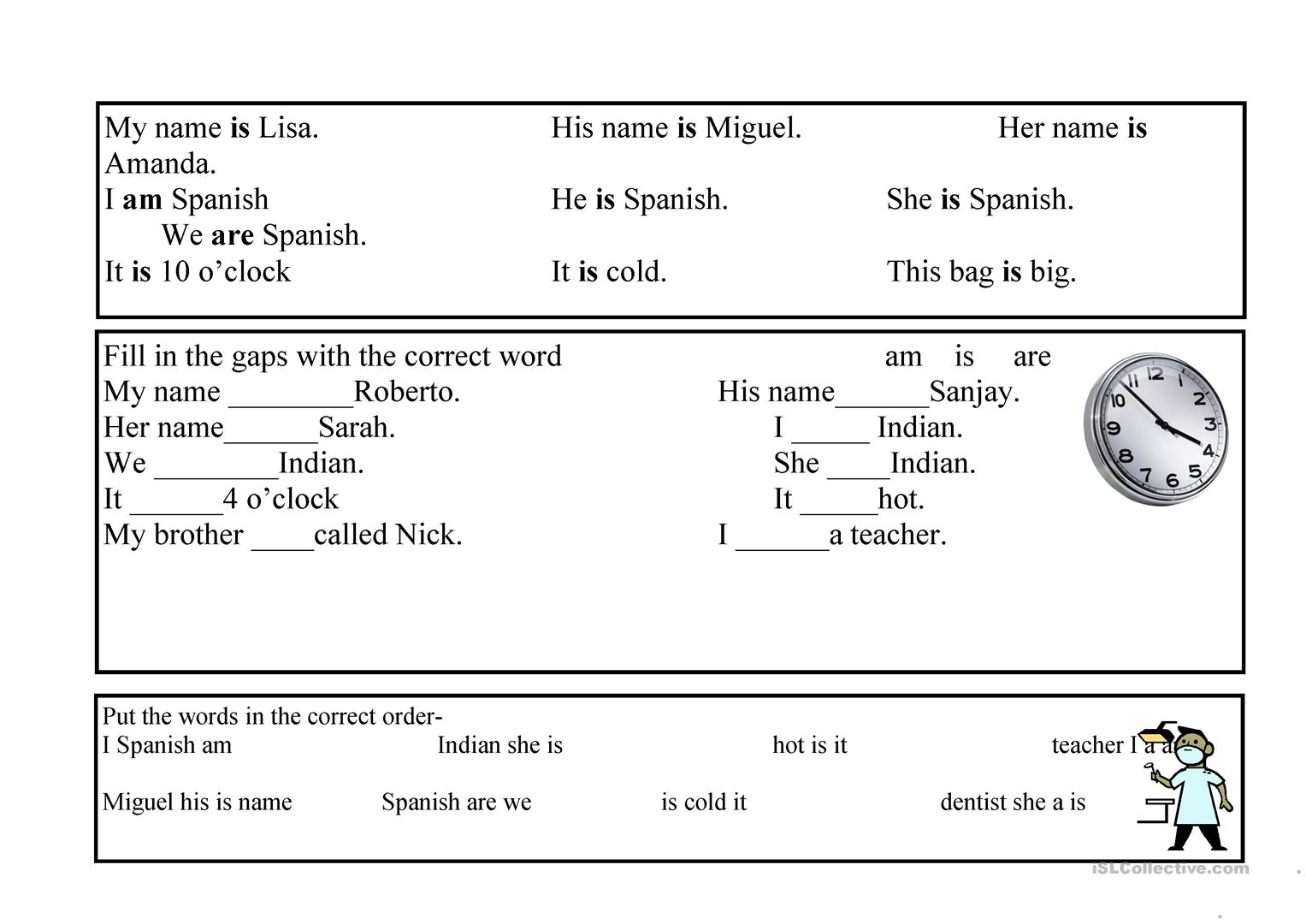 The Verb To Be Am Are Worksheet