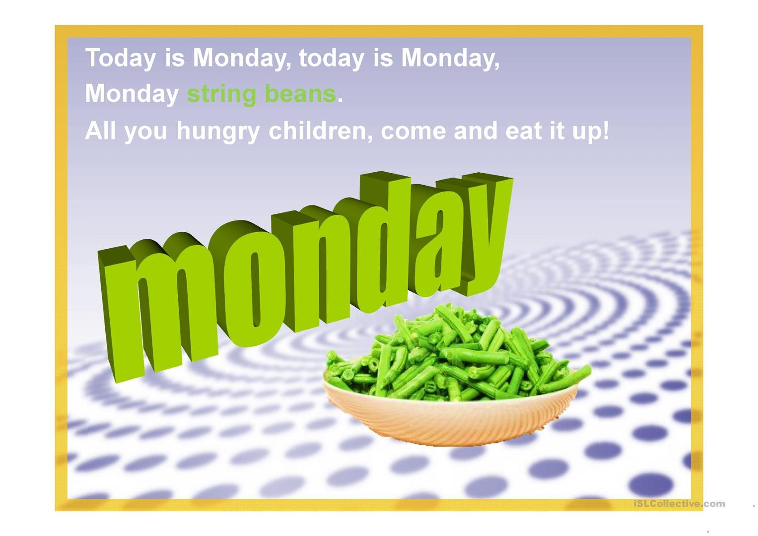 Today Is Monday Worksheet