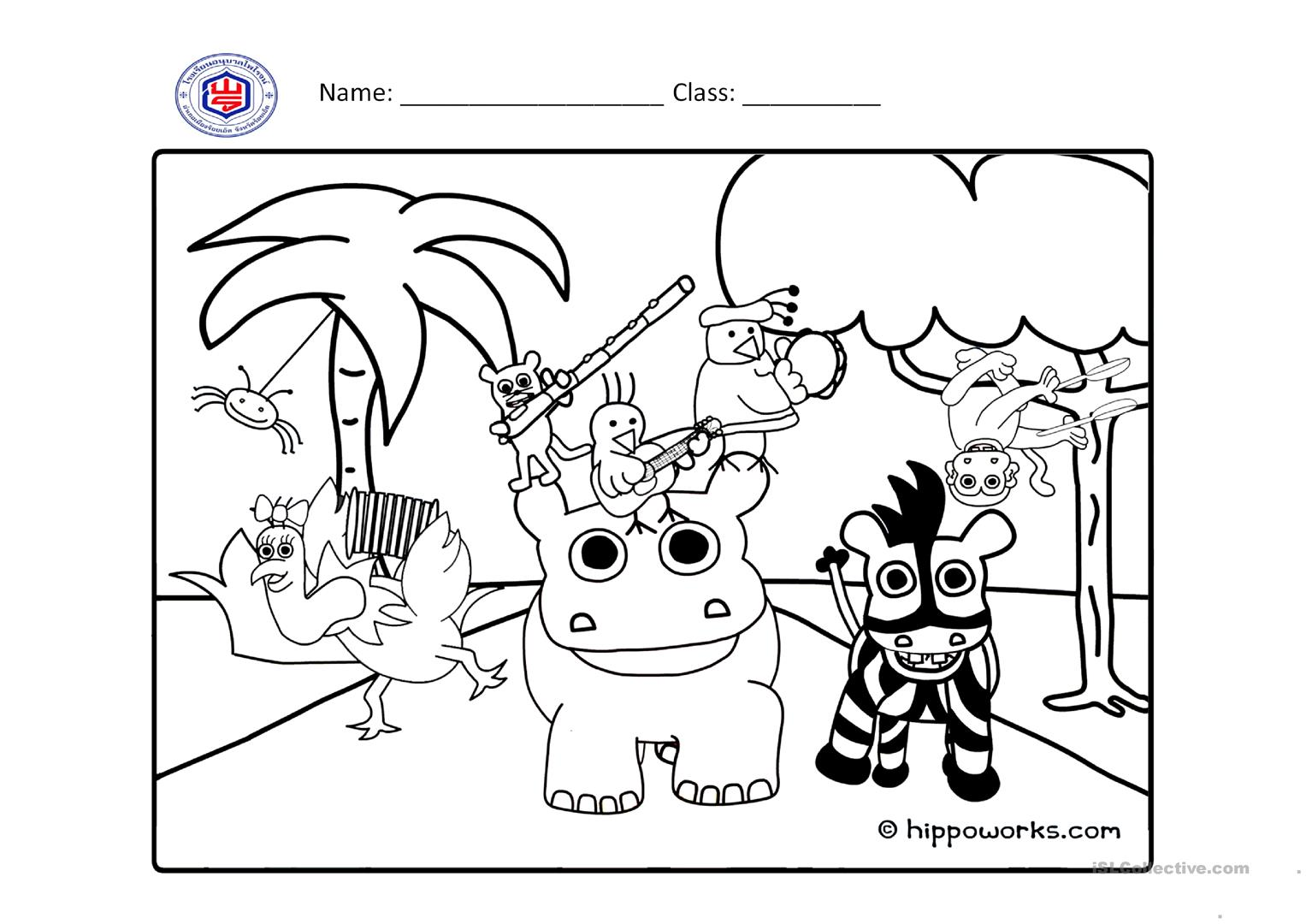 Animals Colouring Worksheet Worksheet