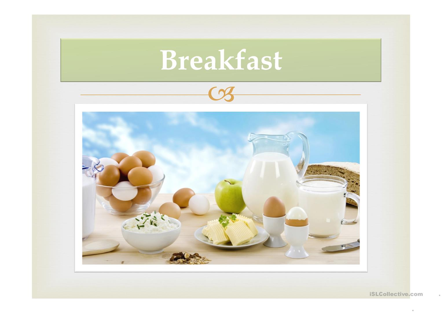 Breakfast Worksheet