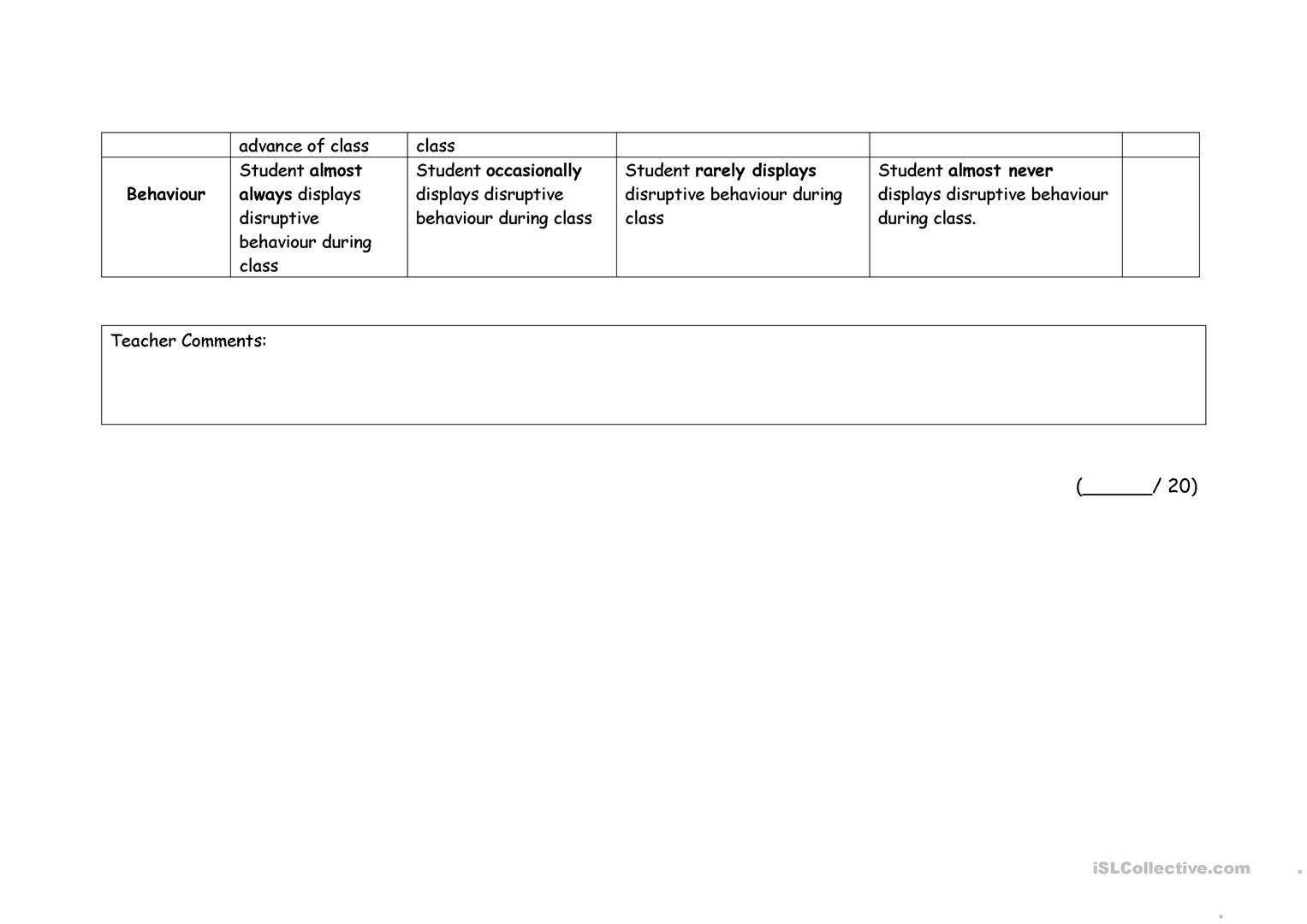 Evaluation Rubric Worksheet