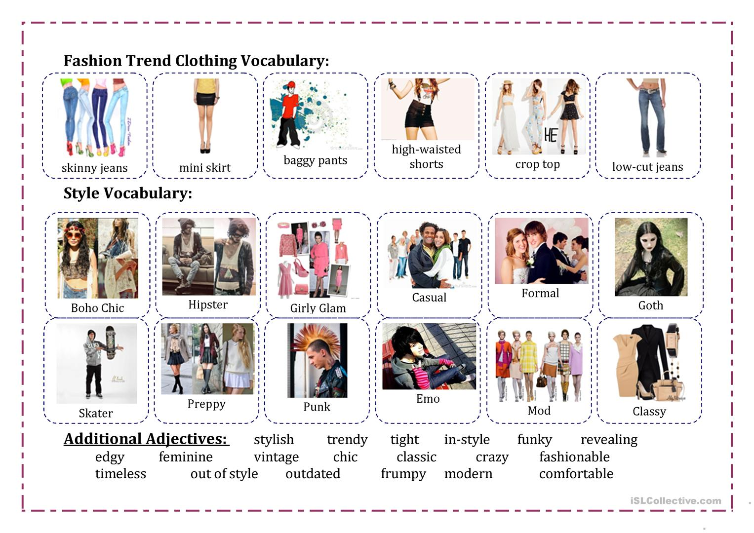 Fashion Vocabulary Worksheet