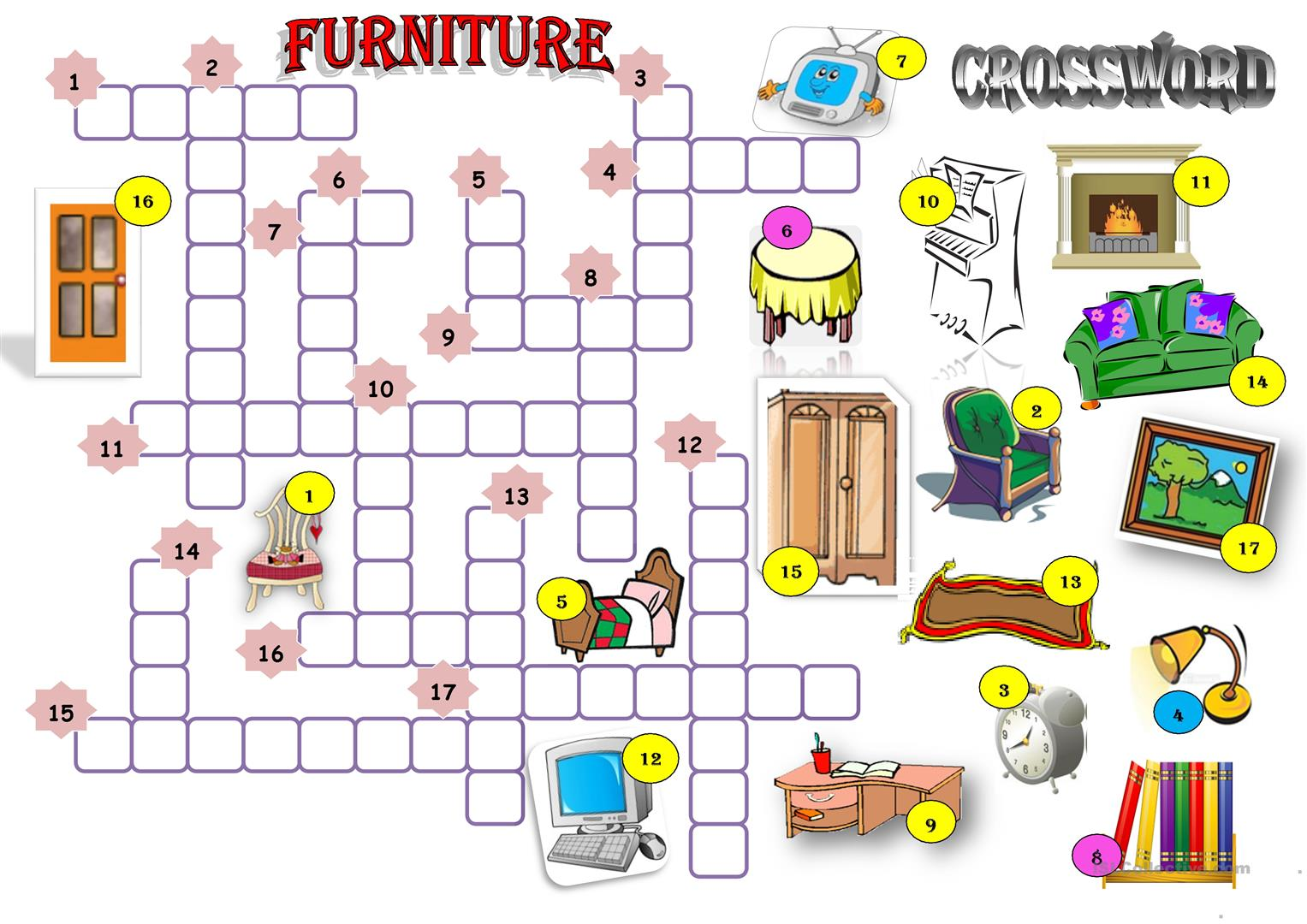 Furniture Crossword Worksheet