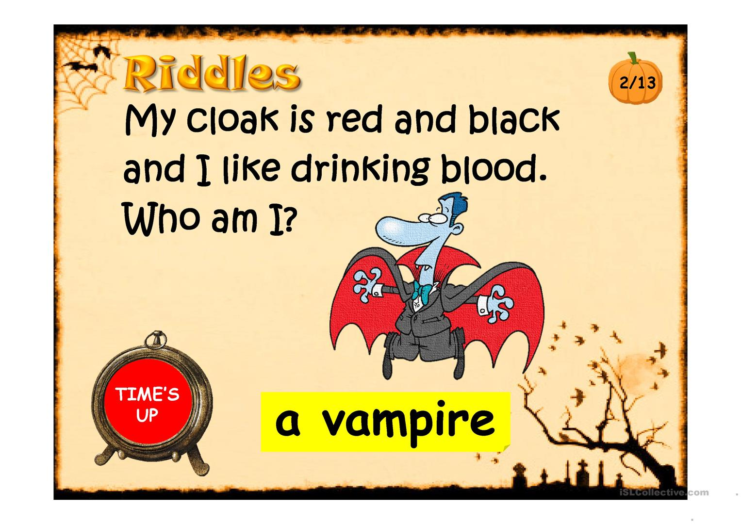 Halloween Riddles Ppt Worksheet