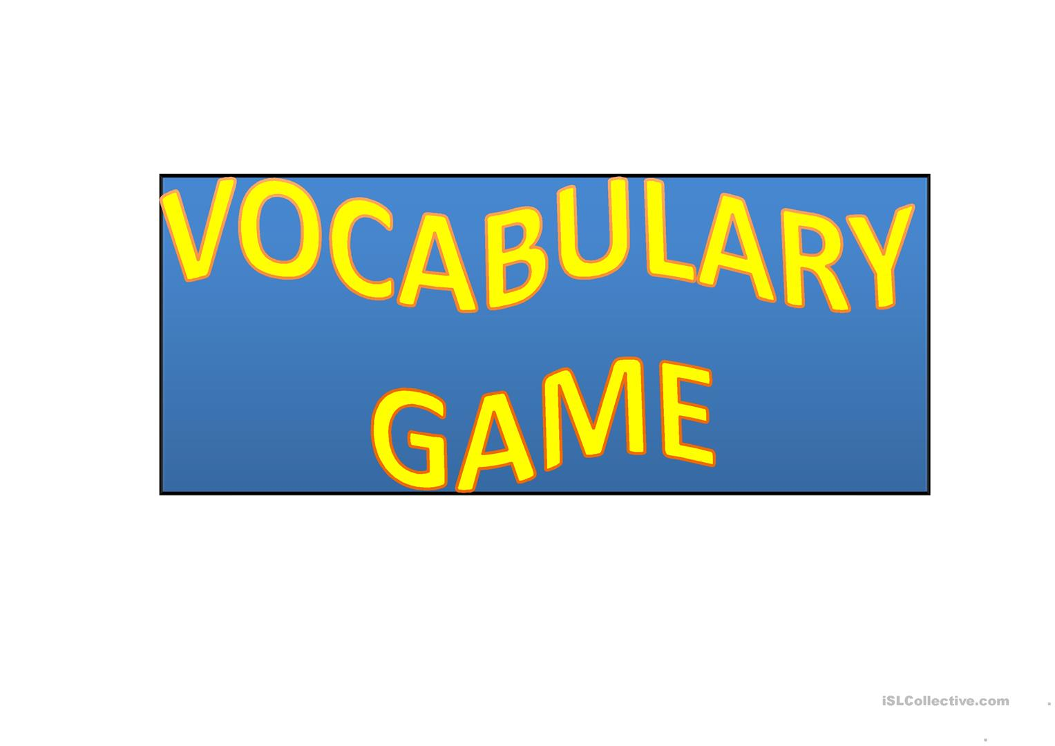 Vocabulary Game Worksheet