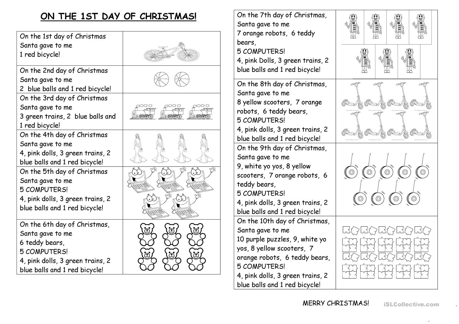On The First Day Of Christmas Worksheet