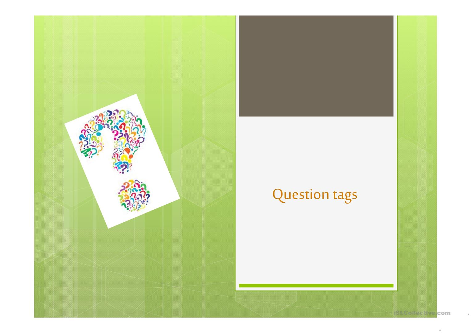 Worksheet About Question Tag