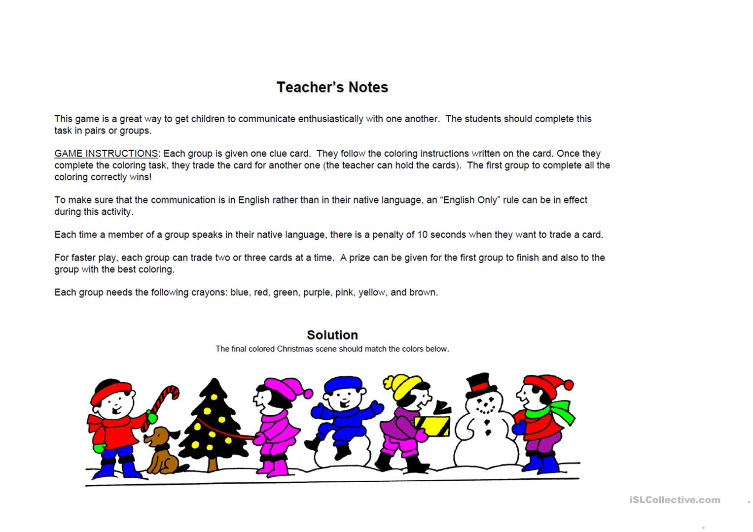 Christmas Colour Game Worksheet