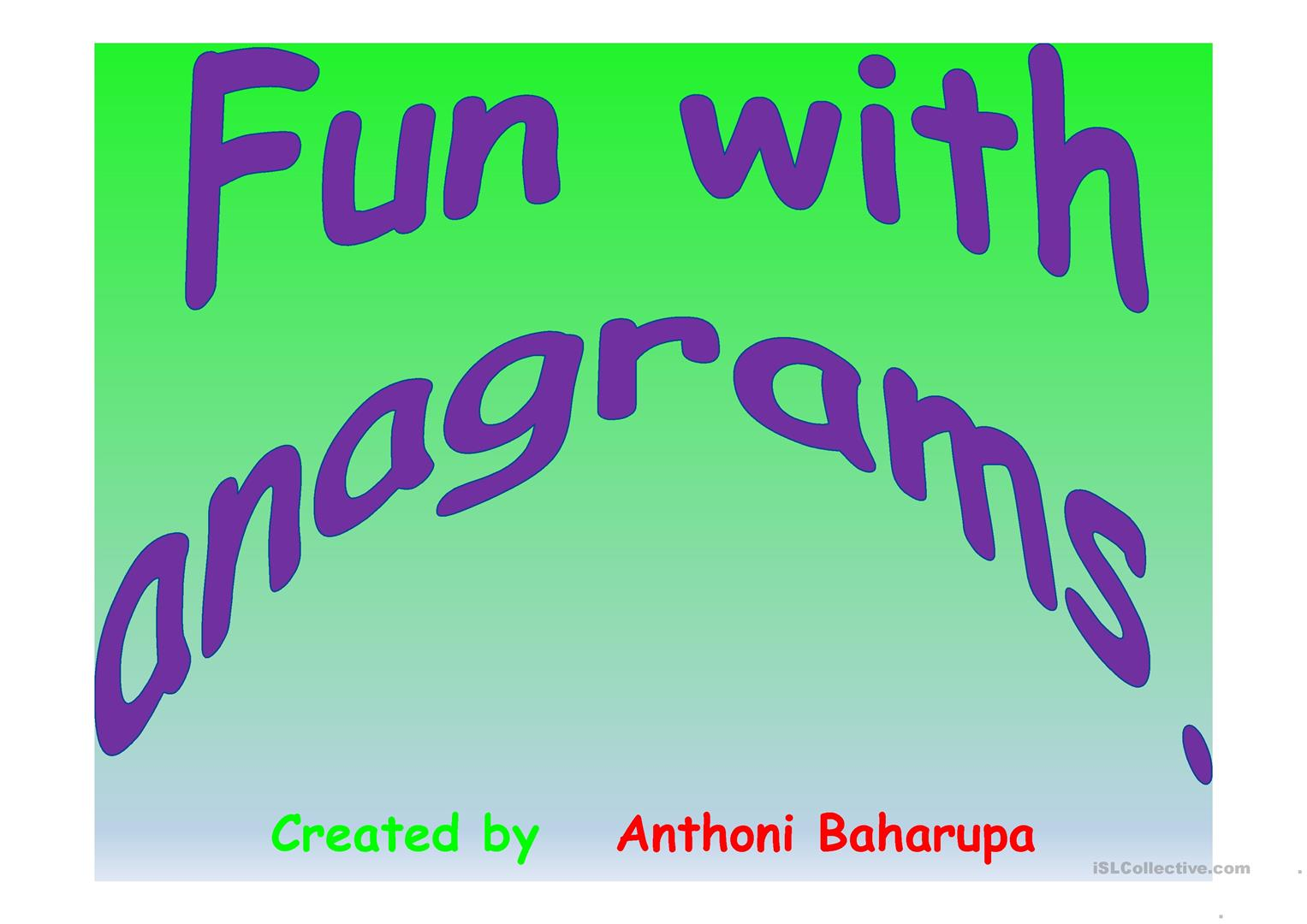 Fun With Anagrams Worksheet