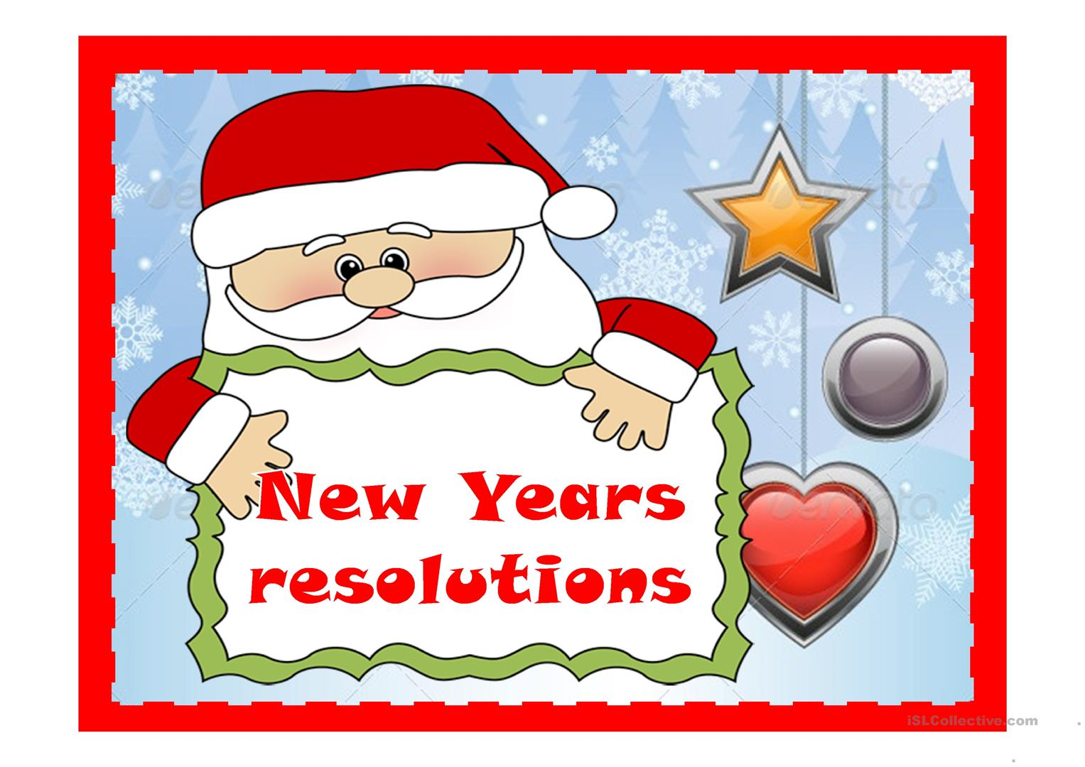 New Year S Resolutions Worksheet