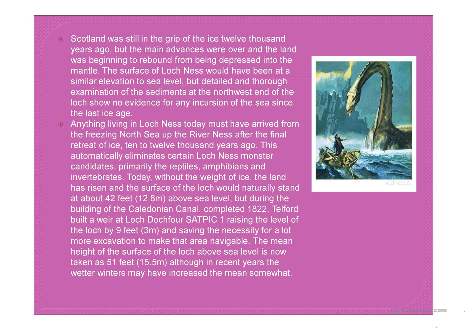 Legend Of Nessie Worksheet